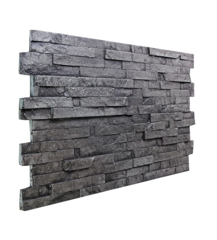 145 Charcoal Stacked Slate Wall Panel 47 W X 24 H X 1 1 2 D Faux Rock Panels Faux Stone Wall Panels Wall Paneling