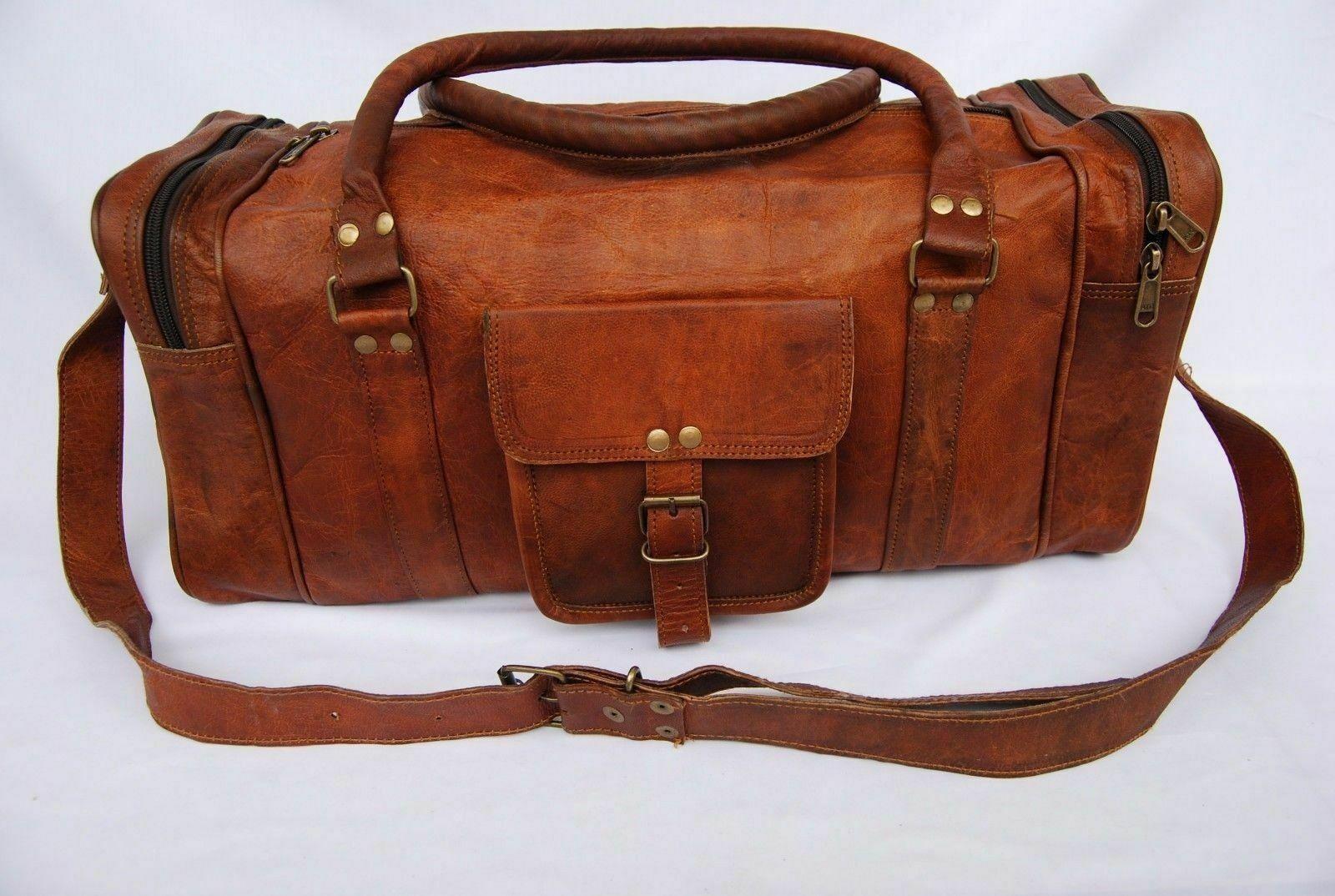 Men/'s Women Real Soft Leather Luggage Duffle Gym Bag Handbag Travel Bag Holdall
