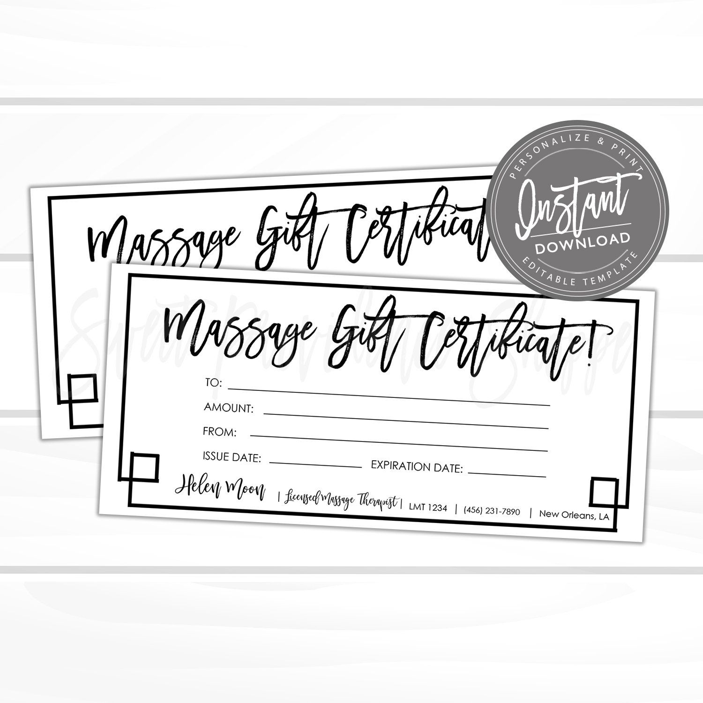 Editable gift certificate massage printable gift card spa