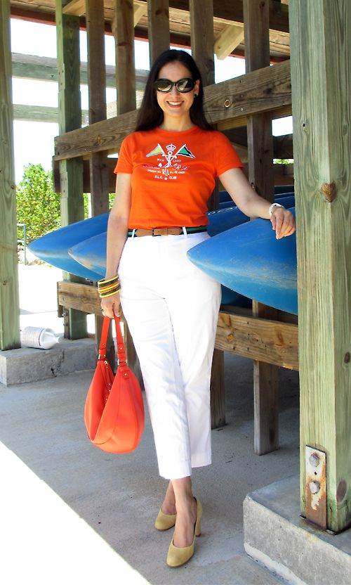 Ralph Lauren Embroidered Cotton T-Shirt and Cotton Sateen Cropped Pants; Vintage Belt; Antique Bakelite Bangles and Green Cubic Zirconia and Sterling Silver Earrings; Kate Spade Leather Bag; Suede Ann Taylor Shoes; Anne Klein Porcelain and Diamonds Watch; Baccarat Ring with Banana Republic Sterling Silver and Cubic Zirconia Bands. Nautical done in bright colors and preppy style!  http://www.akeytothearmoire.com/post/23926336245/no-life-jacket