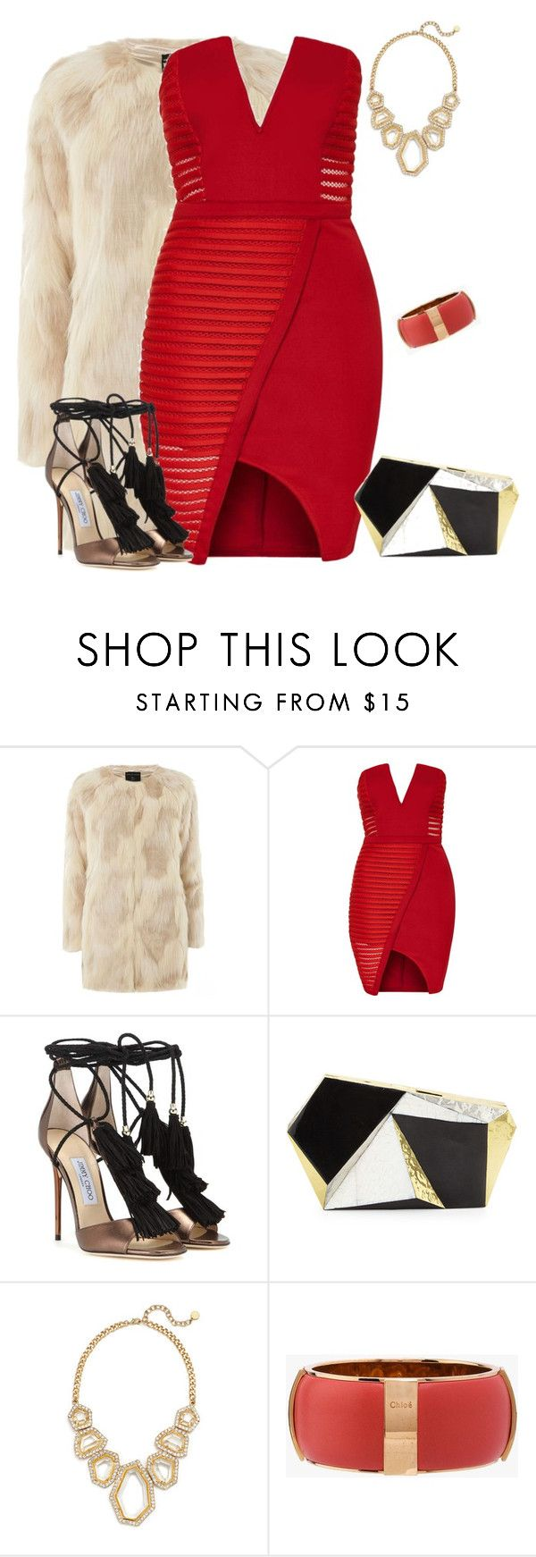 """""""outfit 3304"""" by natalyag ❤ liked on Polyvore featuring Dorothy Perkins, Topshop, Jimmy Choo, Rafe, R.J. Graziano, Chloé, women's clothing, women, female and woman"""