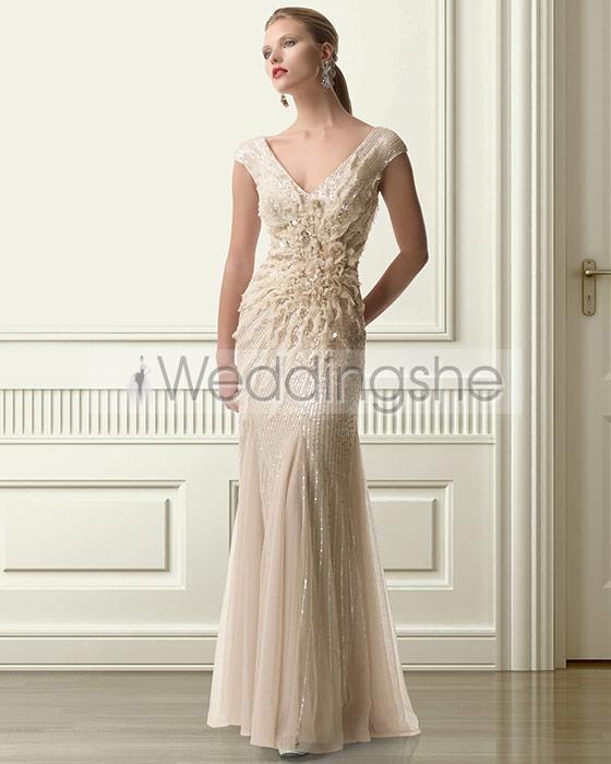 Elegant Flowers/BeadingSequins Mermaid/Trumpet V-Neck Floor-length Mother of the Bride Dresses on Sale With  USD$ 267.29