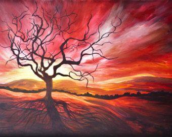 Tree Art Tree Painting Sunrise Sunset Dead Tree Landscape Print Landscape Painting Backlight Red Sky Branches Black Tree Orange Tree Art Tree Painting Painting
