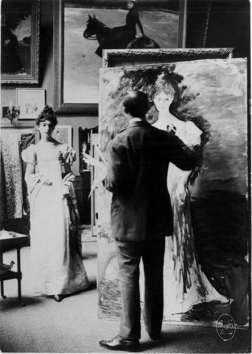 Jacques Émile Blanche painting in his studio