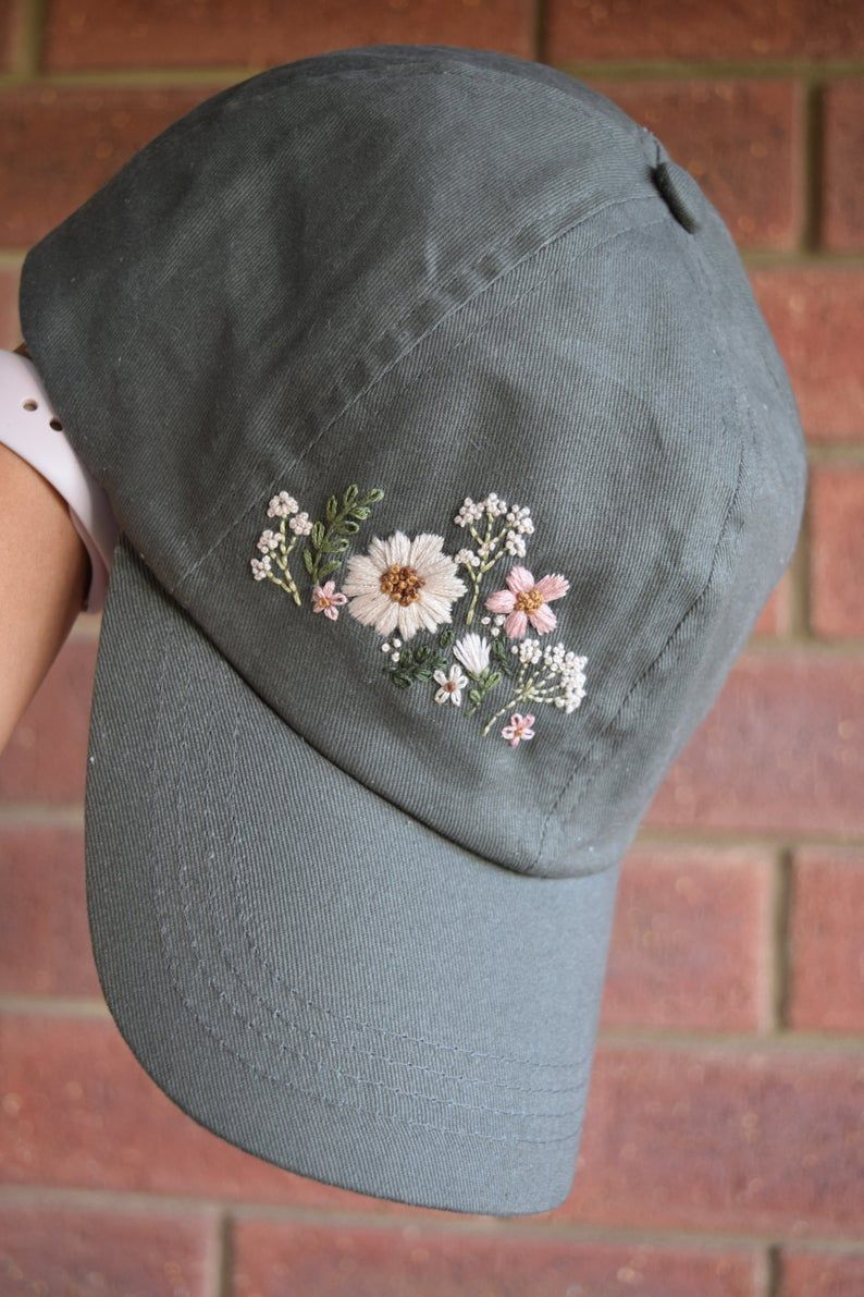 Wildflower Hand Embroidered Cotton Baseball Hat Embroidery Women S Hat Hiking Hat Dad Hat Snapback Gift Baseball Cap In 2020 Hat Embroidery Embroidered Clothes Embroidery On Clothes