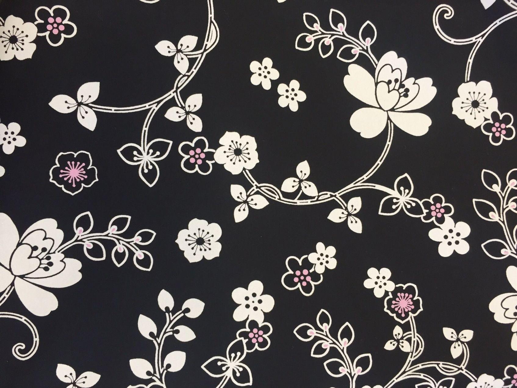 coton fleurs tiges blanches fond noir laize 140 cm