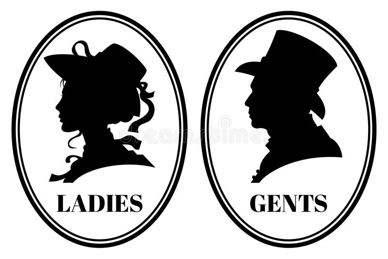 Vintage Toilet Wc Vector Sign With Lady And Gentleman Head In Victorian Hats And Clothes Stock Vector Illustrati Vintage Toilet Silhouette Diy Victorian Hats