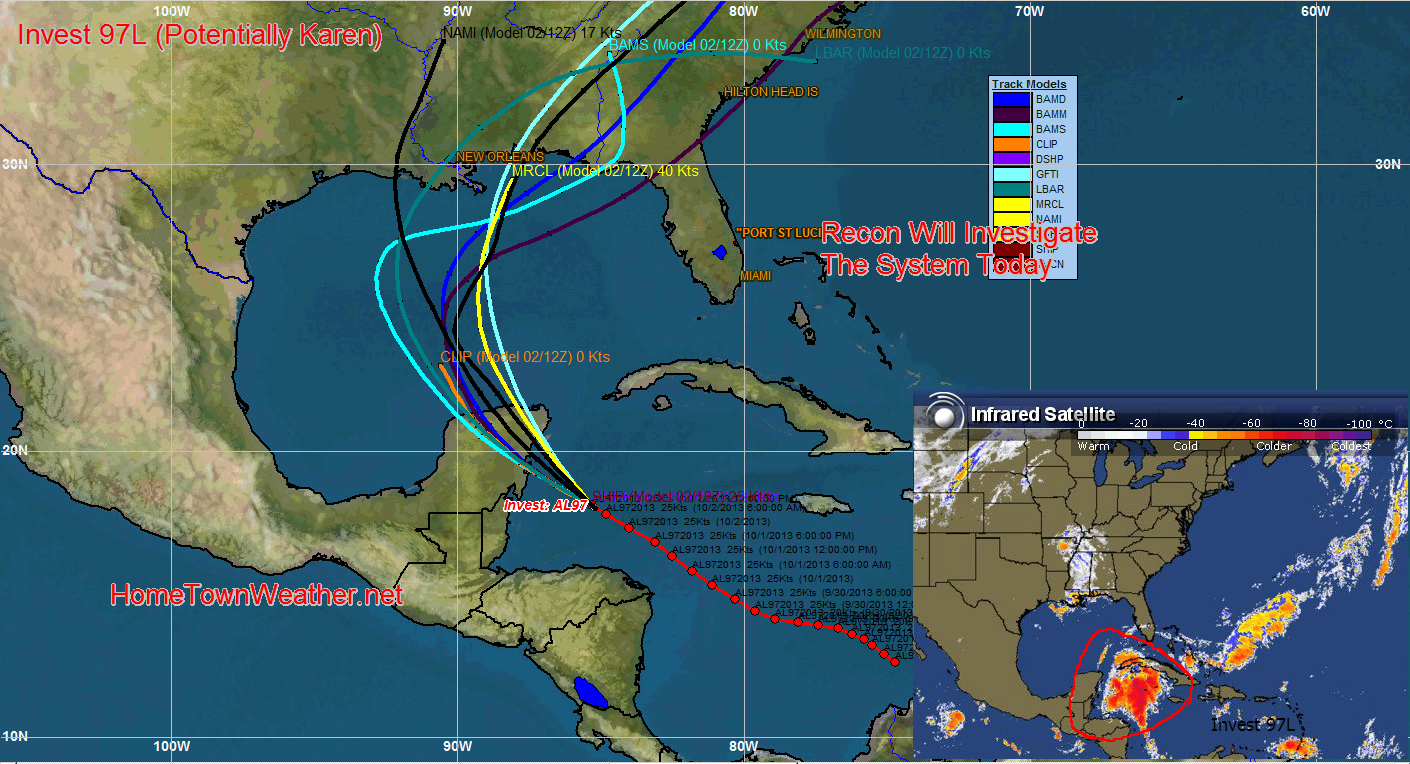 Invest 97l May Soon Be Karen Recon To Investigate Later Today Investing Weather Hurricane Investigations