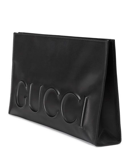gucci clutch. gucci linea large embossed clutch bag, black, size: l