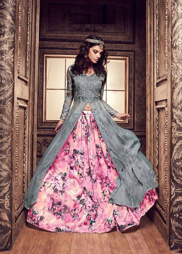 Grey and pink color pure silk floral lehenga style party wear kameez ...