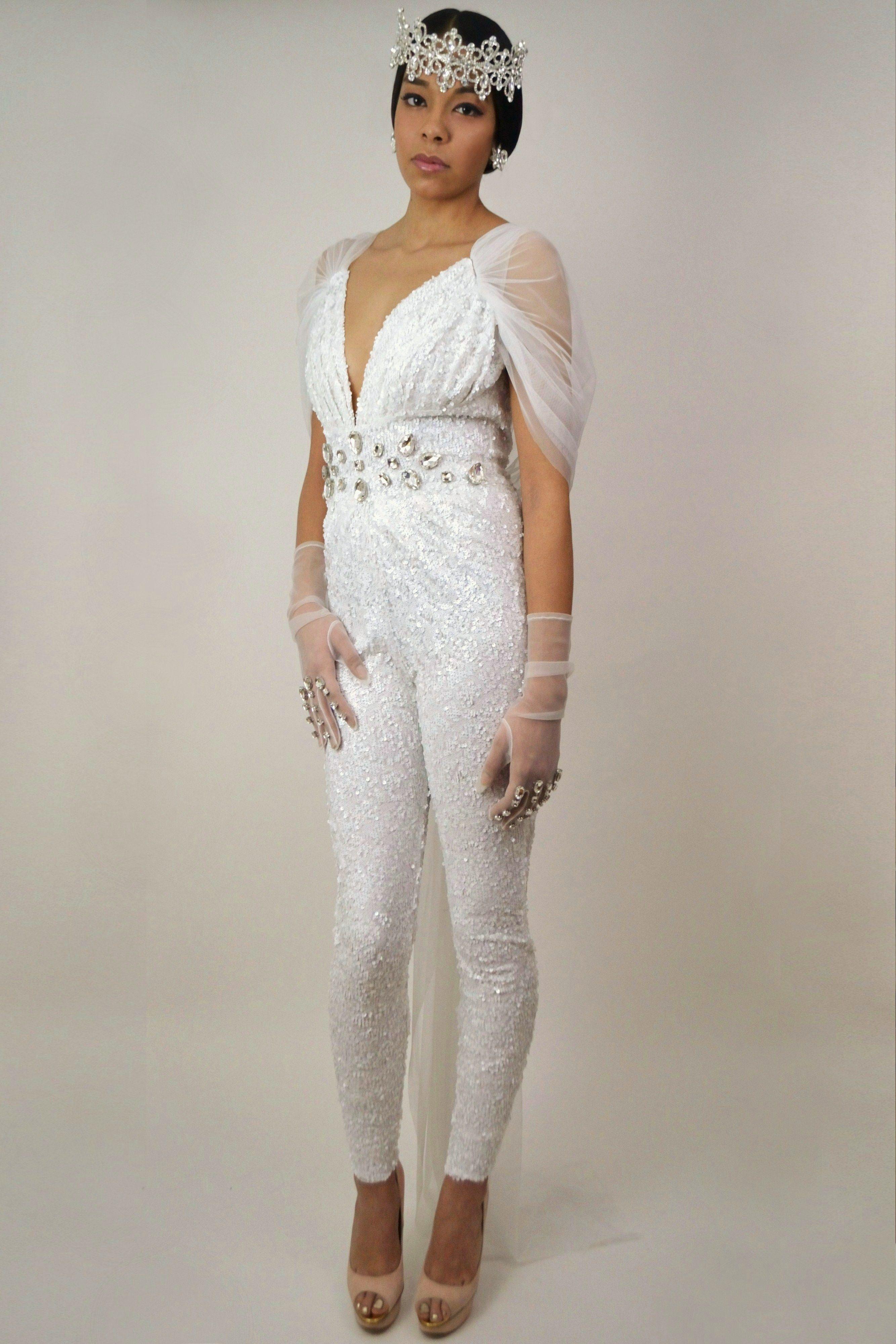 Naomi Sequin Bridal Catsuit Shop Now