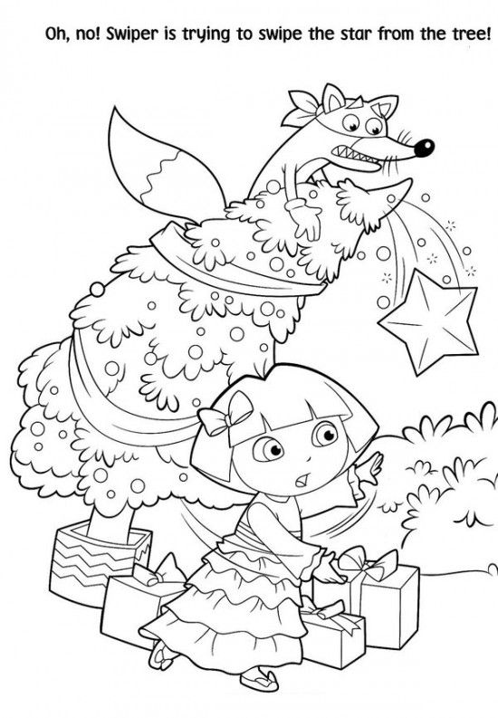 Free Printable Dora Christmas Coloring Pages Picture 6 550x793
