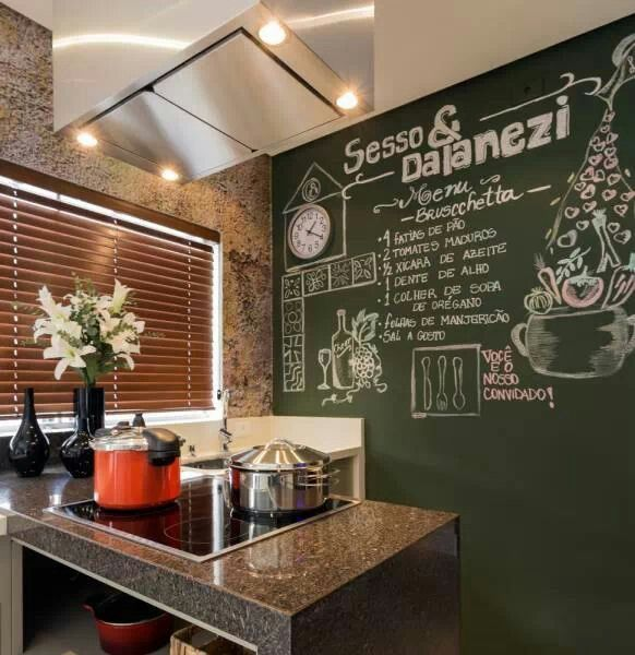 Pared pizarra para cocina hogar y decoraci n house sweet home y home - Pared pizarra cocina ...