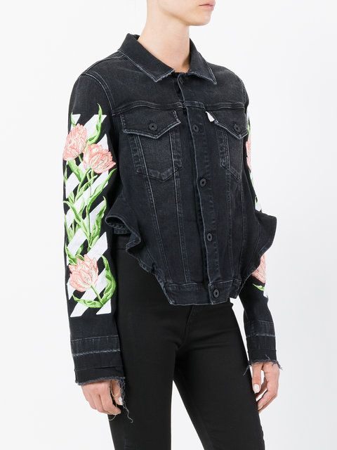 32161657bc7b Off-White floral embroidered denim jacket