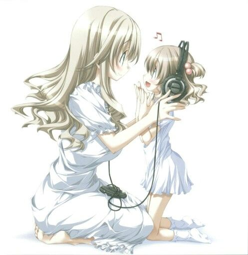 Anime Mother And Daughter Sharing Music Together Anime Family