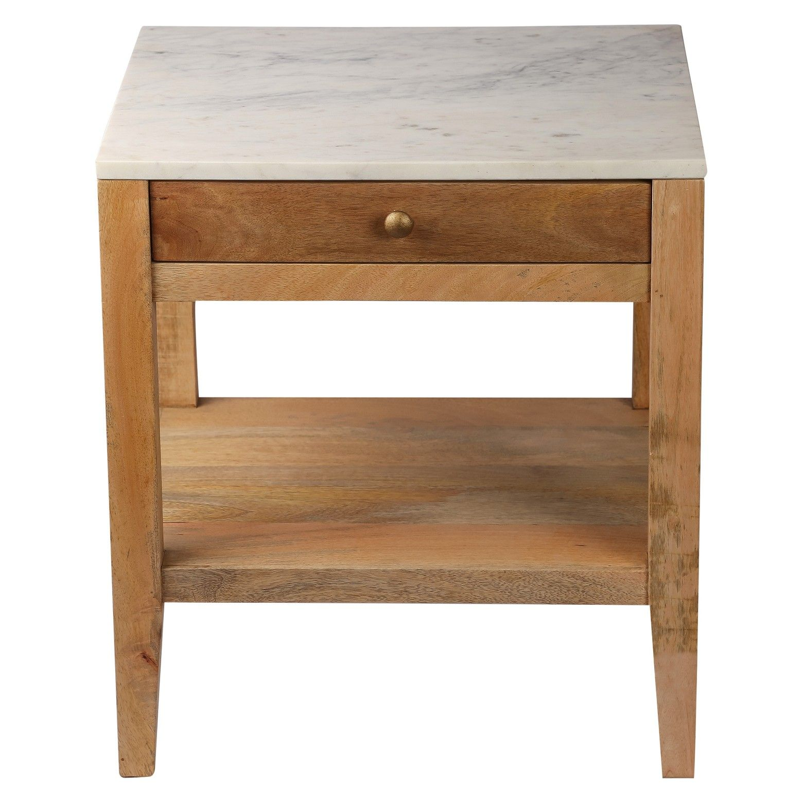 Marble and Wood One Drawer Accent Table Threshold