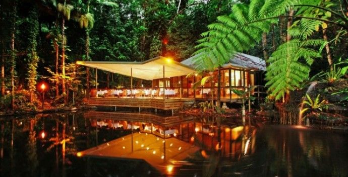 Hovering over a rainforest lagoon, is the award winning Daintree Eco Lodge and Spa in Queensland Australia.