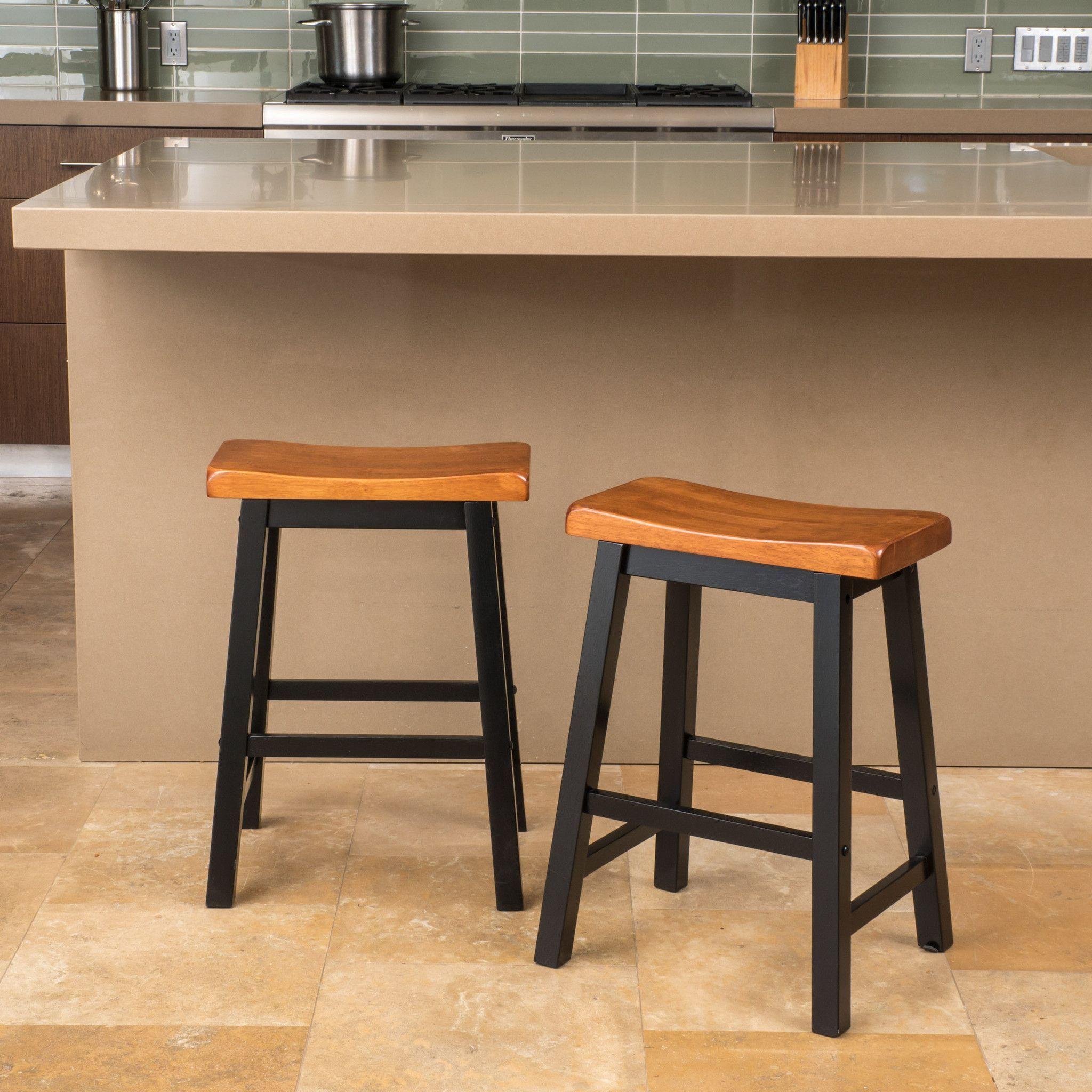 Denise Austin Home Toluca Saddle Wood 24 Inch Counter Stool Set