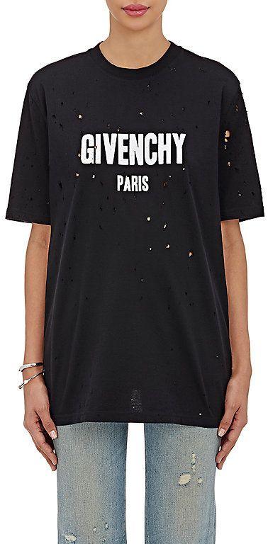 c60e9590a34192 Givenchy Women s Logo-Print Cotton Distressed T-Shirt