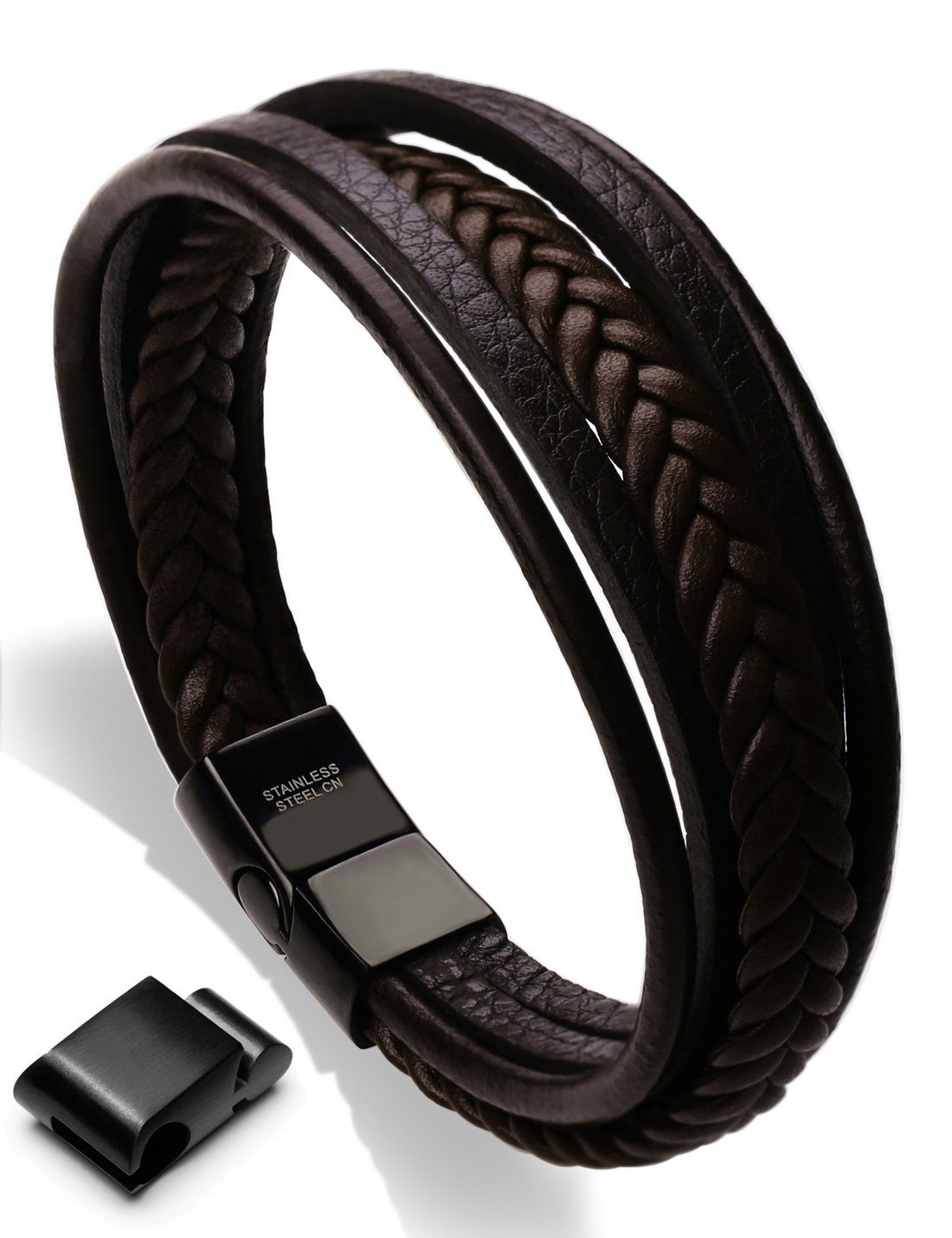 Mens cowhide leather braided bracelet magneticclasp multilayer