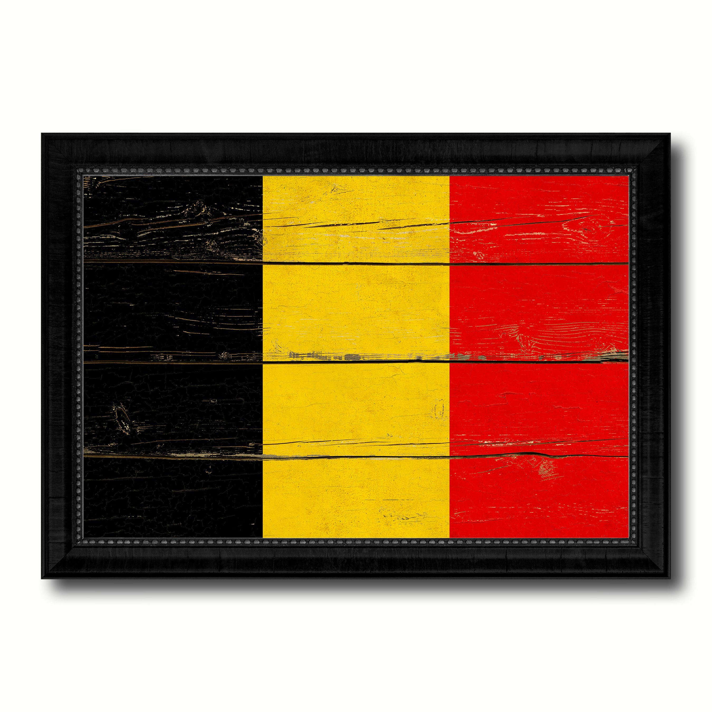 Belgium Country Flag Vintage Canvas Print with Black Picture Frame ...