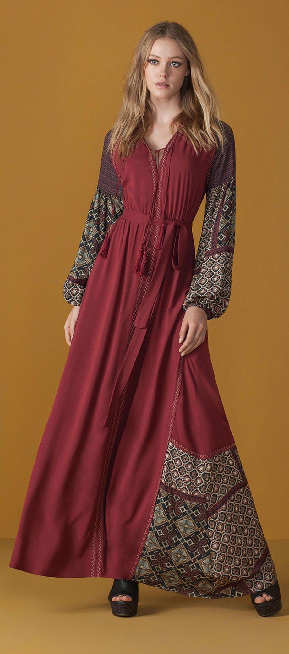 6ed3cd52b7 vestido longo manga comprida bugante contura marcada estampado etnico