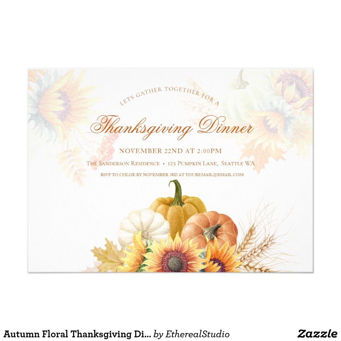 Autumn Floral Thanksgiving Dinner Invitation Card Zazzle