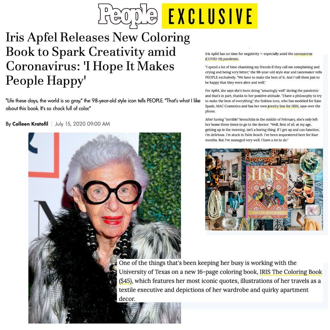 Iris The Coloring Book On Instagram A Coloring Book Featuring Iris Apfel Most Iconic Quotes Illustrations Of Her Travels And De Coloring Books Books Icon