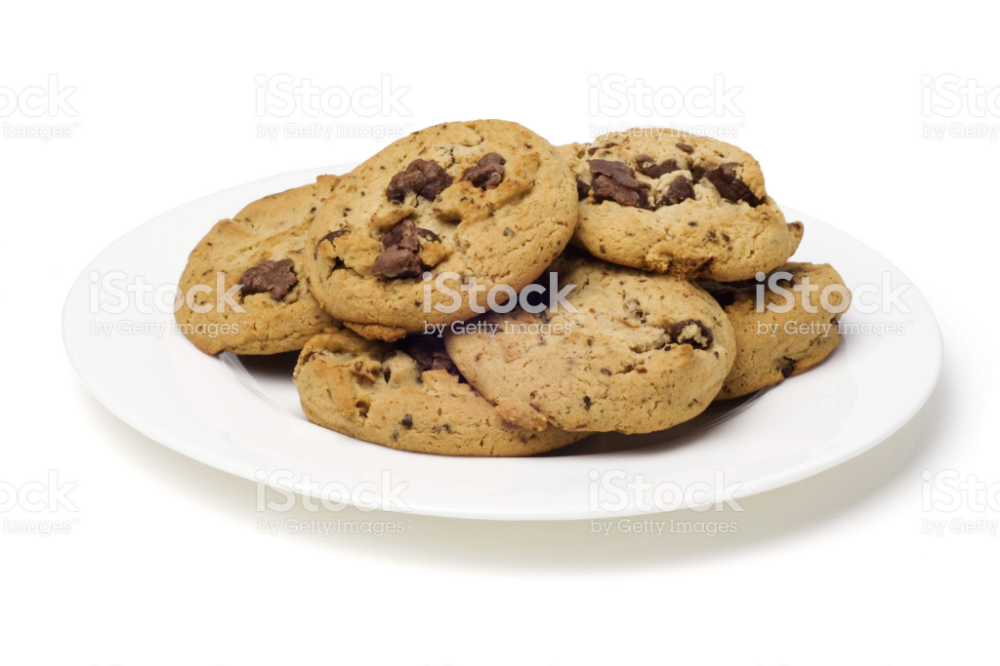 Plate Of Chocolate Chip Cookies On White With Clipping Path Chocolate Chip Cheesecake Cookies Recipe Chocolate Chip Cheesecake Cheesecake Cookies