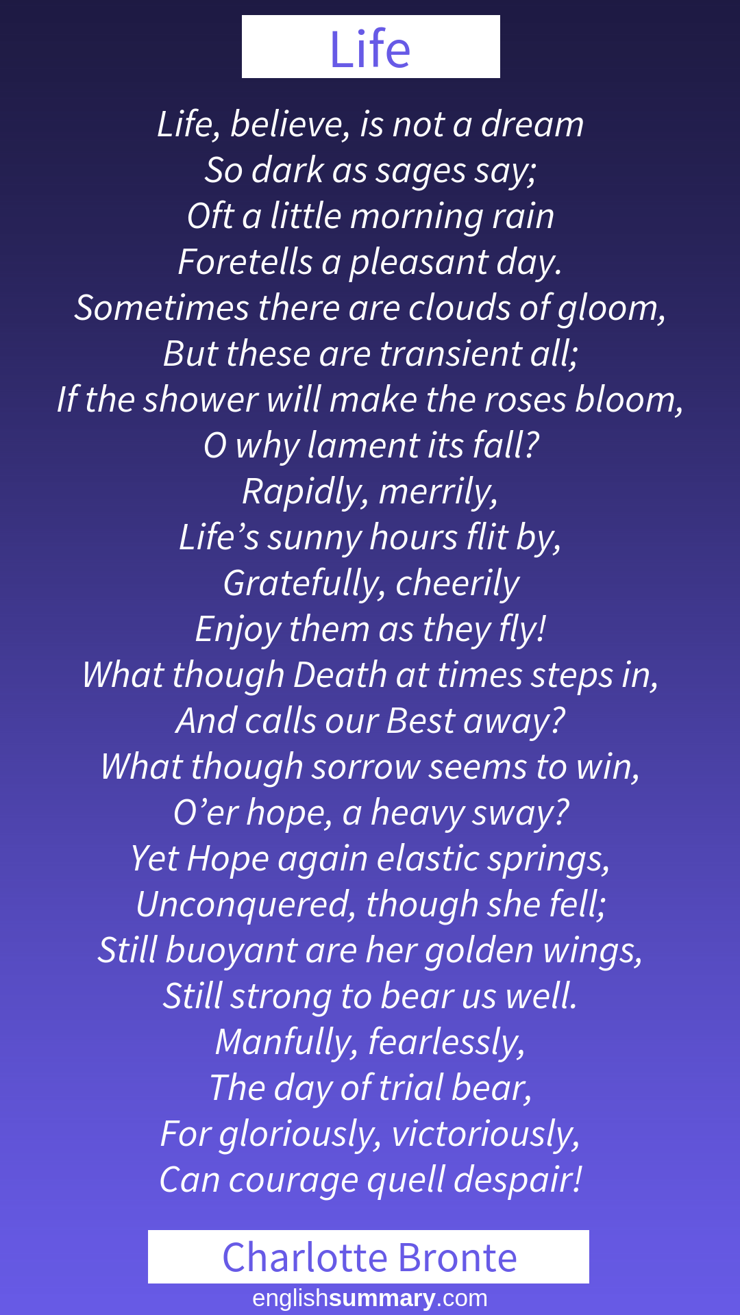Life By Charlotte Bronte Believe I Not A Dream So Dark Sage Say Oft Little Morning Rain Foret Poem About Aesthetic Word Literature Quotes Shakespeare Sonnet 27 Analysis