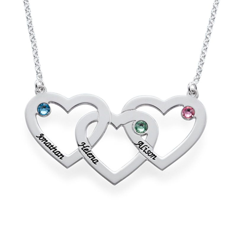 925 Silver Heart Intertwined Necklace with CZ Birthstones-Love Necklace Necklace for Her