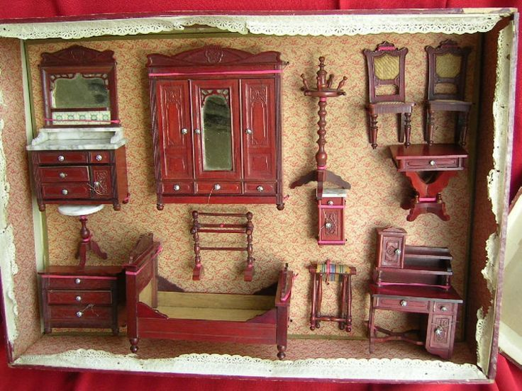 miniature wooden dollhouse furniture. Antique Schneegas Bedroom Set In Original Box. Was A German Company That Produced Fine Wood Dollhouse Furniture Around The Turn Of Century. Miniature Wooden