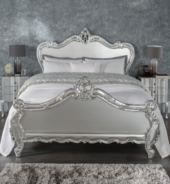 Estelle Silver Antique French Style Bed French Style Bed Bed
