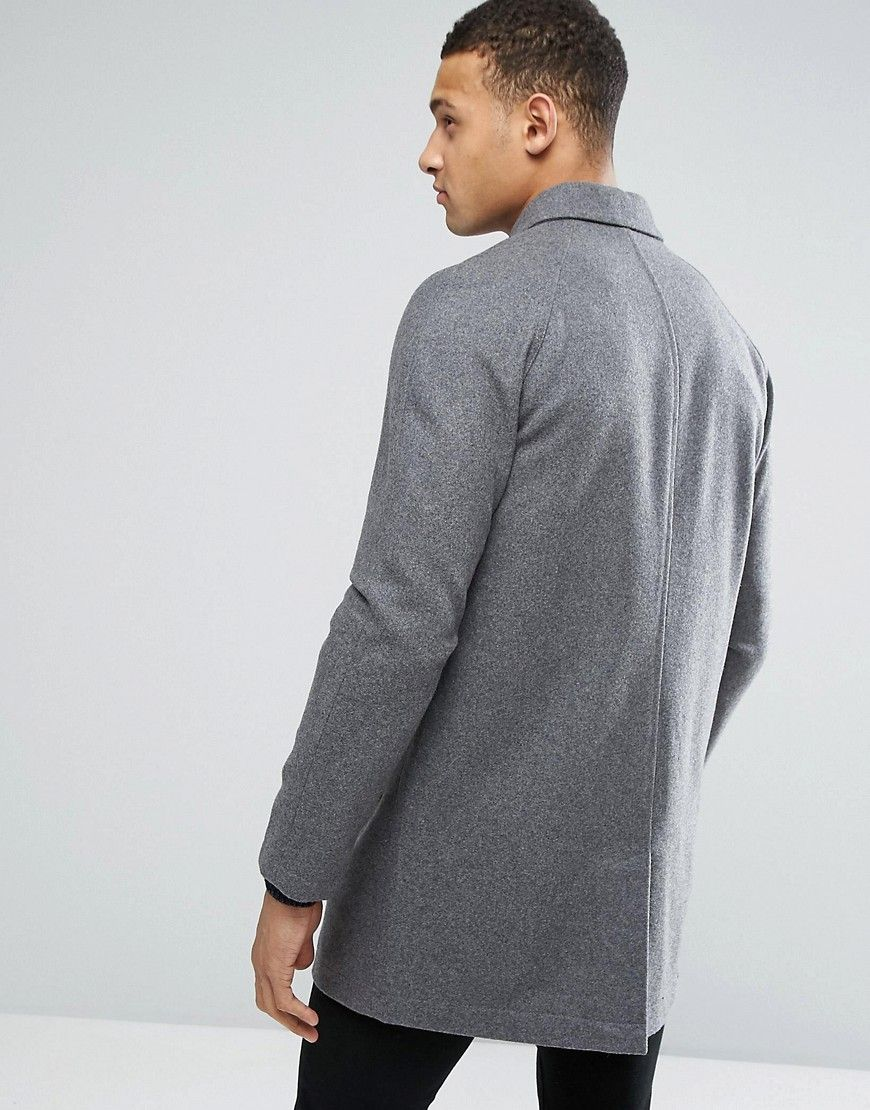 df39a2f7b784 ASOS Wool Mix Trench Coat In Light Gray Marl - Gray | Products