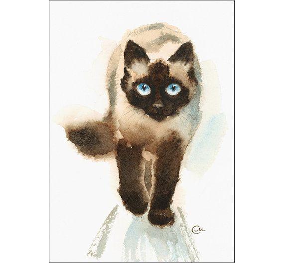 Aquarelle Chat Siamois Original Peinture 5 X 7 Animaux Animaux