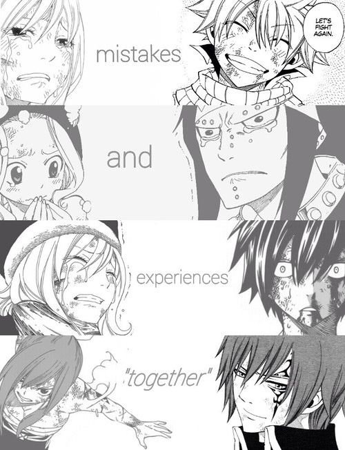 """Mistakes and experiences, 'together'."" Lucy/Natsu, Levy/Gajeel, Juvia/Gray, Erza/Jellal"