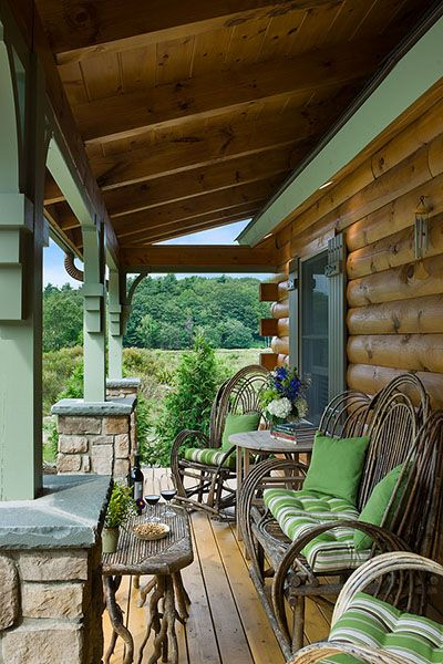 Coventry Log Homes | The Silver Ranch Front Porch from the side door