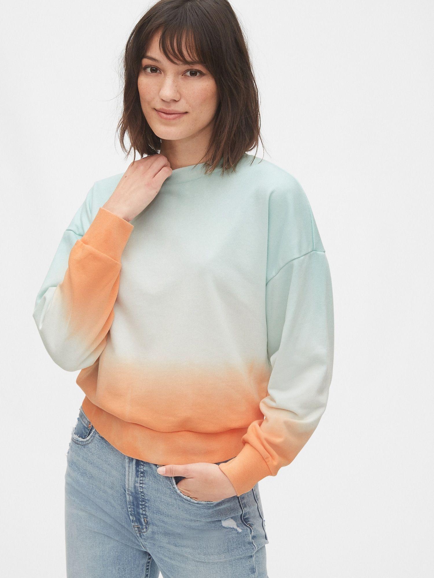 Gap Tie Dye Cropped Sweatshirt In French Terry Blue Orange Ombre Crop Sweatshirt Tie Dye Sweatshirts Women [ 2000 x 1500 Pixel ]