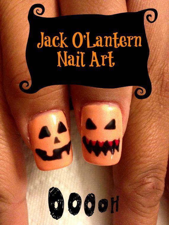 Jack O'Lantern Nail art for Halloween | Halloween nails ...