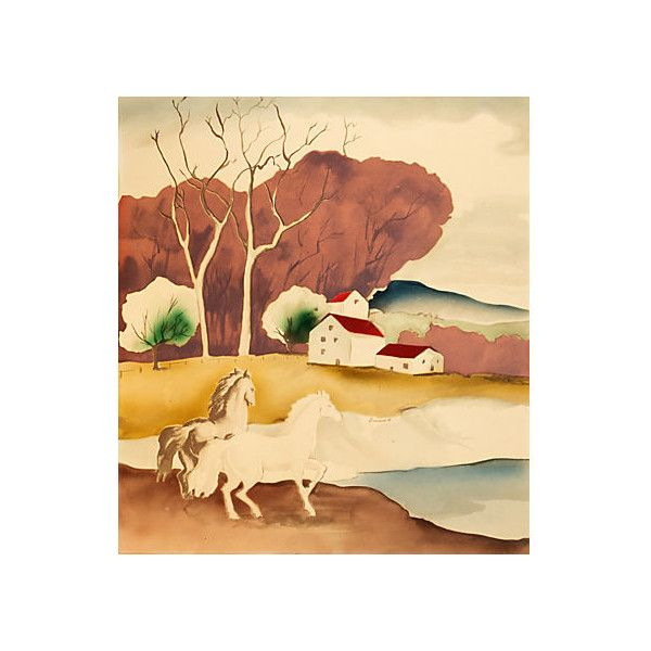 Pre-Owned Horses in a Landscape 1940s ($339) via Polyvore featuring ...