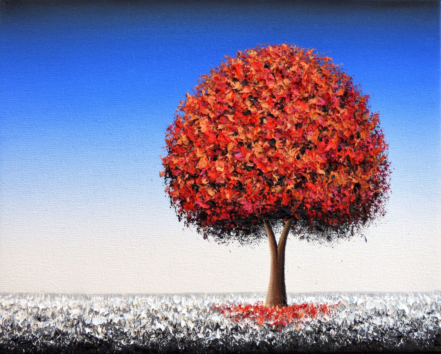 Original oil painting winter landscape red tree painting
