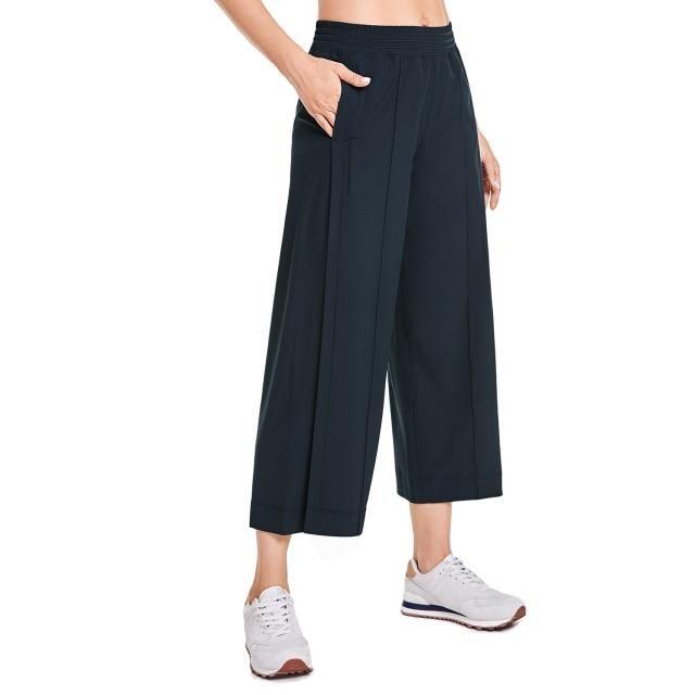 Capri Lounge Wide Leg Pants with Pockets - Ink Blue02 / US0-2