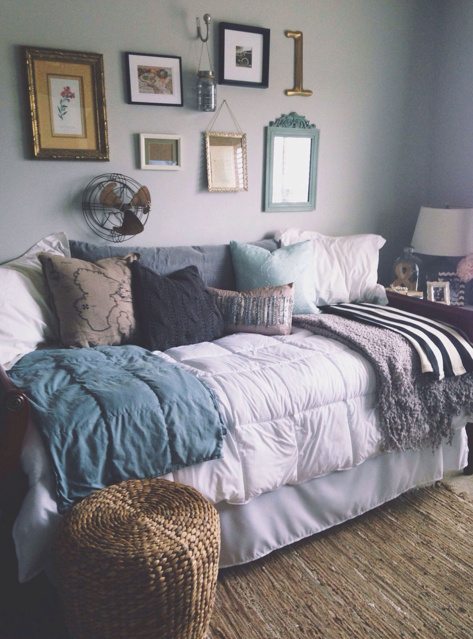 Twin Bed into Daybed in Living Room