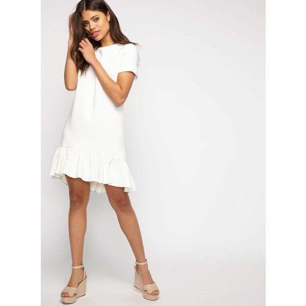 7133d2ca29 Miss Selfridge Ivory Peplum Hem T-Shirt Dress featuring polyvore women s  fashion clothing dresses ivory tee shirt dress white color dress t-shirt  dresses ...