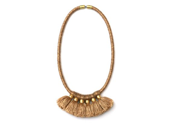 Gold Brown Wool Necklace For Women Unique Gifts For Her