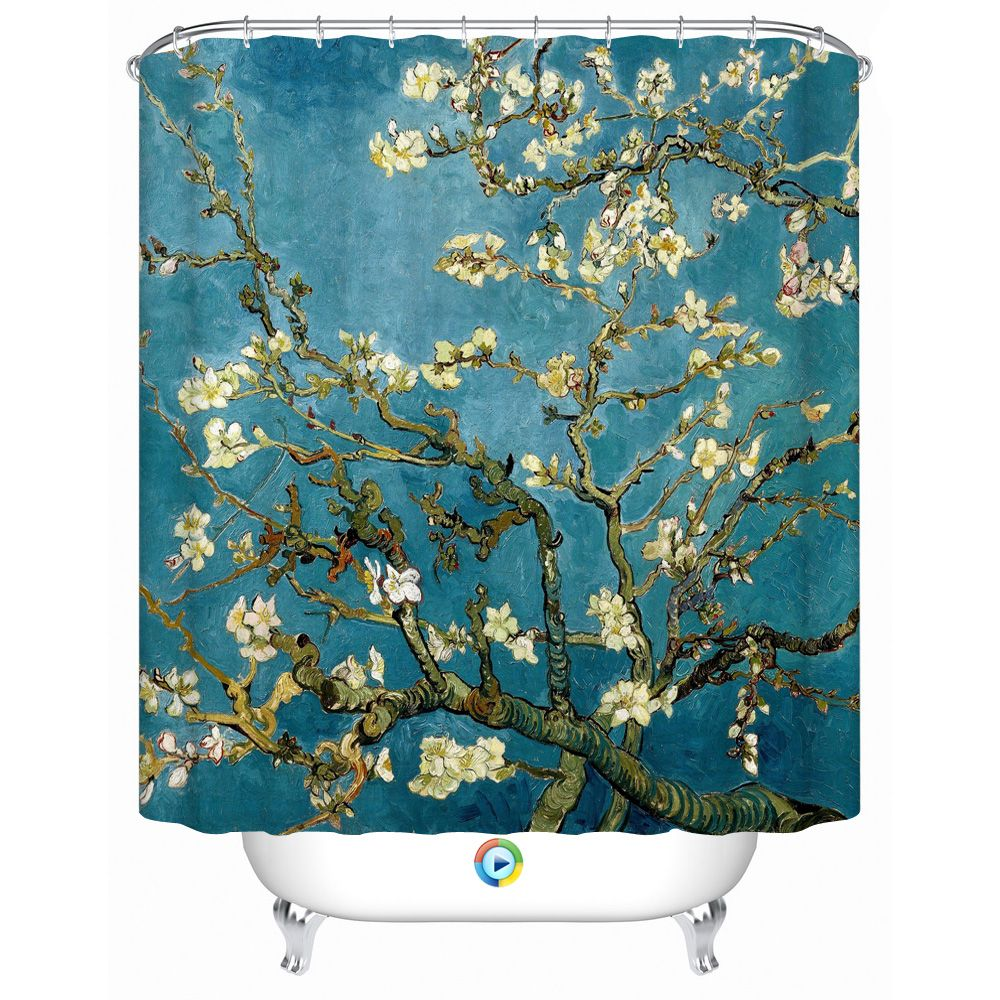 2016 New Fashion Blue Floral Creative Shower Curtain with