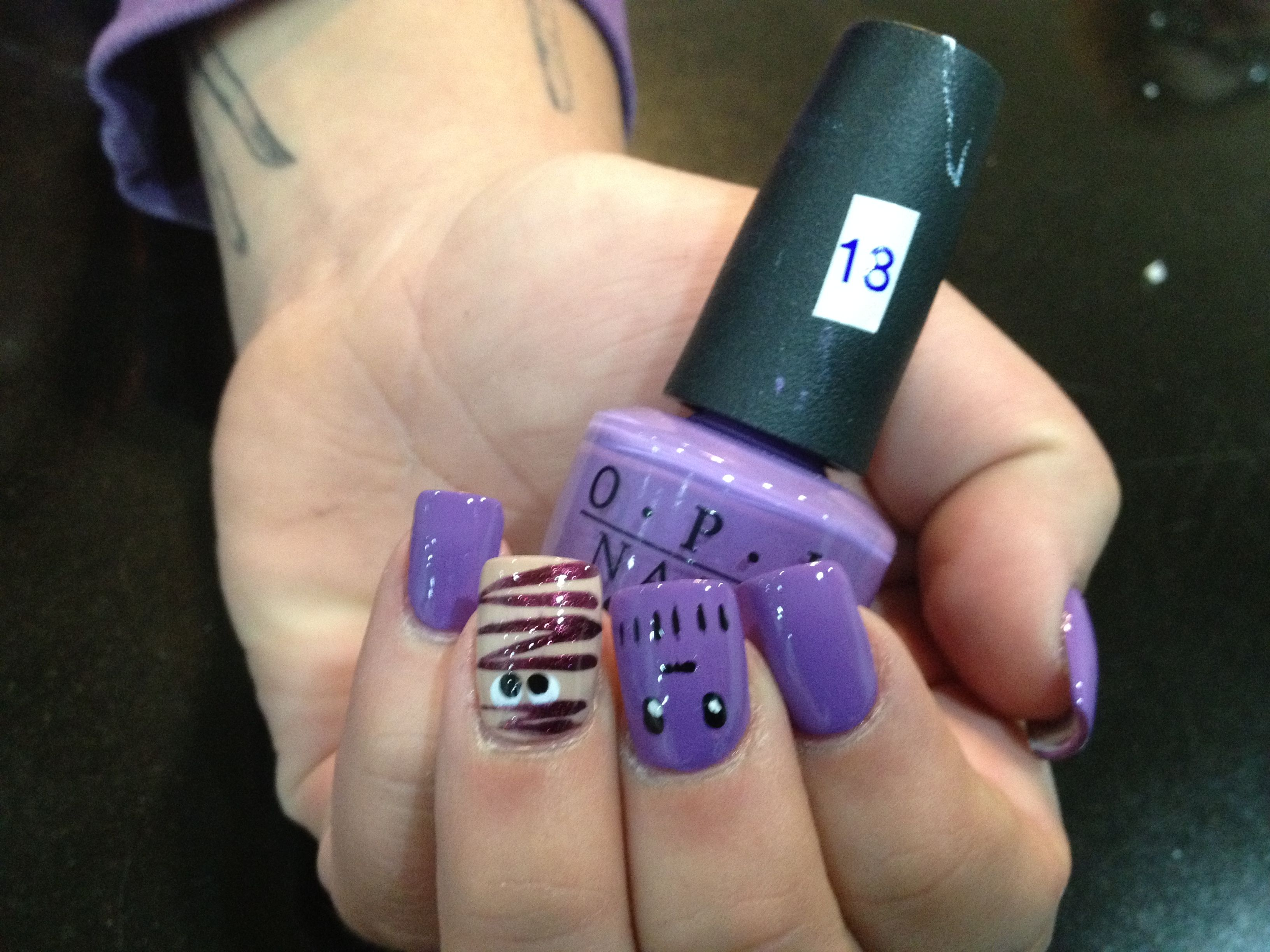 Deep purple-holloween nail art design | Fingernail Art Designs ...