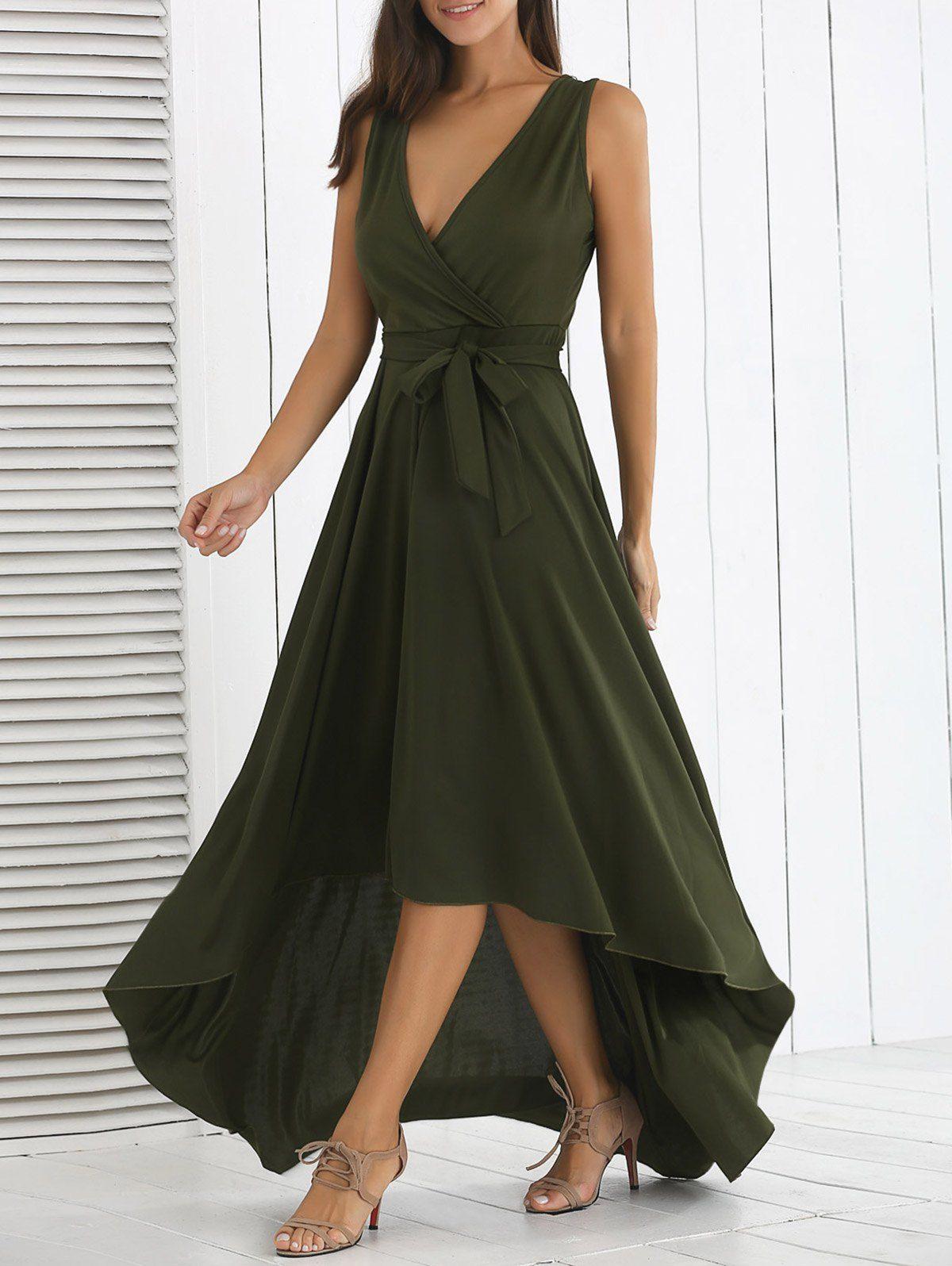 Asymmetric High Waist Maxi Dress