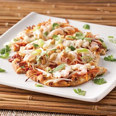 Pizza «pad thaï» aux crevettes nordiques - Recettes - Cuisine et nutrition - Pratico Pratique