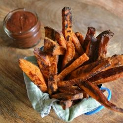 These Roasted Sweet Potato Fries are easy to make and served with a delicious Garam Masala Ketchup!